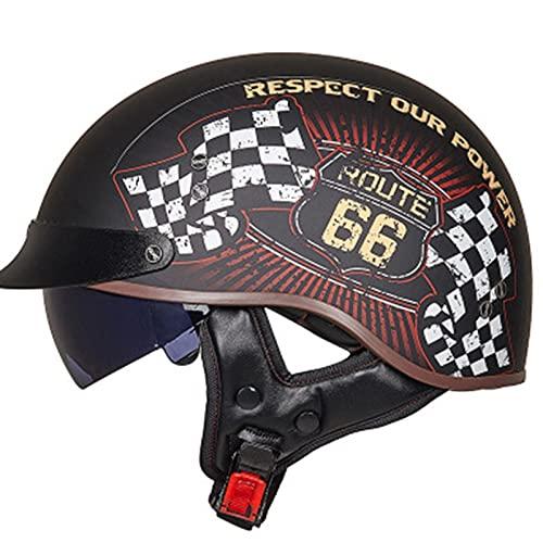 QAZXCVB Helmets Casco Moto Jet ECE Homologado -Ciclomotor Casco,Retro Casco De Moto Medio Abierto con Visera Custom Scooter para Mujer Hombre Adultos J,M