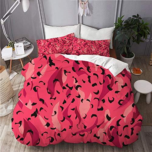 ELIENONO Bettwäsche-Set,Vektor Wildtier Panther Leopard Muster,Dekoratives 3-teiliges Bettwäscheset mit 2 Kissenbezügen,Einzelgröße(135 x 200cm)