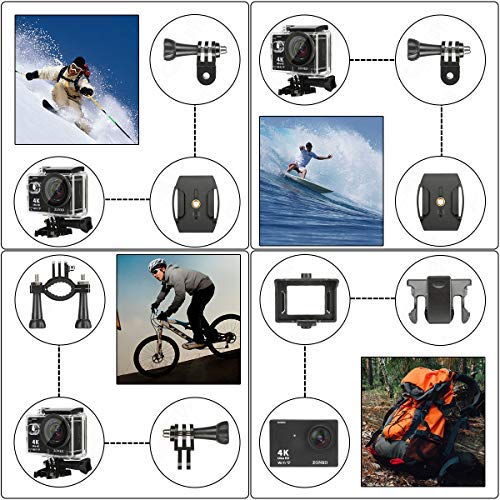 Action Camera, ZONKO 4K Ultra HD WiFi Sports Camera, 12MP 170 Degree Wide-Angle Lens, 30M Waterproof Camera for Scuba Diving, Snorkeling, Include 19 Accessories Kit
