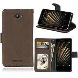 Funda BQ Aquaris U/U Lite 5.0 Inches Case,Bookstyle 3 Card Slot PU Cuero Cartera para TPU Silicone...