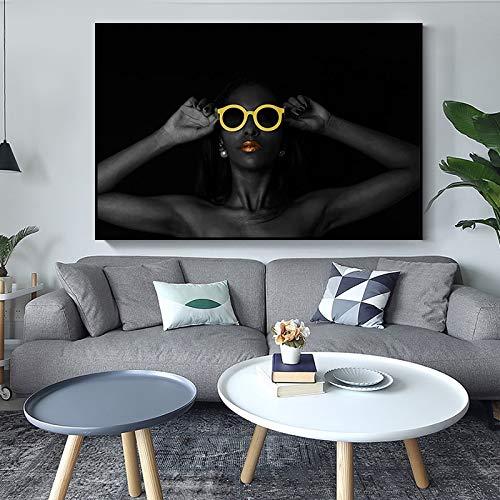 N / A Rahmenlose Malerei Moderne Leinwand Mode schwarzes Mädchen rote Lippen Sonnenbrille Kunstplakat Wohnzimmer HauptdekorationZGQ8942 40X70cm