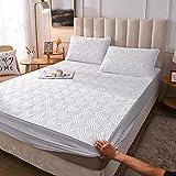 GTWOZNB Protector de colchón Transpirable.Rizo Bambú. Sábana de una Sola Pieza de algodón engrosamiento-23_160 * 200cm