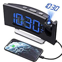 PICTEK Projection Alarm Clock, Digital Alarm Clock Radio with USB Charger, 5'' Large Curved LED Display, 6 Dimmer, Dual Alarm with 4 Alarm Sounds, Snooze, Led Bedroom Alarm Clock for Heavy Sleeper