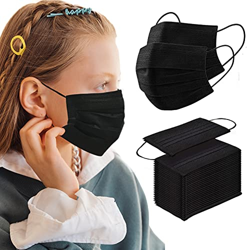 Kids Black Disposable Face Mask 100 PCS Breathable Safety Masks for Children 3-Layer Filtration Face Cover Mask for Indoor Outdoor Daily Use