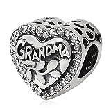 Charm de la abuela de plata de ley 925 con dije de corazón de mi amor, para pulsera Pandora (A)
