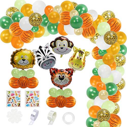 KATOOM 135 guirnaldas de globos de la selva, kit de decoración de fiesta temática de safari con globos de animales y 2 hojas de pegatinas, pegamento de puntos, cadena de globos
