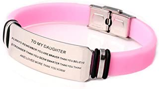 to My Son Daughter Love-Personalized Stainless Steel Rubber Engraved Inspiration Family Love Bracelet