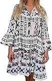 Womens Bohemian Summer Casual Dresses Fashion Swing Geometry Print Babydoll Dress for Women