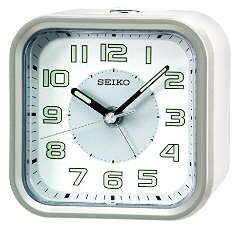 Seiko Wecker weiß Kunststoff Schleichende Sekunde QHE128A