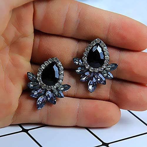 Burenqi Oorbel Vrouwen Mode Oorbellen Strass Grijs/Roze Glas Zwart Hars Zoete Metaal Met Gems Oor Stud Oorbellen Voor Vrouwen