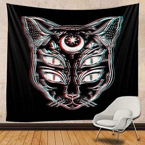 JXWR Tapiz de Gato y Luna Mandala Tapiz de Encaje tapices de Pared decoración Boho Tapiz Hippie 150x130