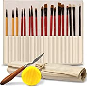 Professional Paint Brush Set of 18 - Bonus Free Painting Knife & Watercolor Sponge - Bristles and Wooden Handles - for Face, Body Paint, Acrylics, Oils - Best Gift for Artists