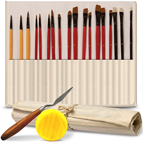 Professional Paint Brush Set of 18 – Bonus FREE Painting Knife & Watercolor Sponge – Bristles and Wooden Handles – For Face, Body Paint, Acrylics, Oils – Best Gift for Artists