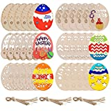 Unfinished Wooden Easter Ornaments, 36Pcs DIY Crafts Easter Egg Shape Cutouts Pendants Embellishments Wood Slices Hanging Tags with Ropes for Easter Hunt Activity Decor, Easter Party Favor Supplies