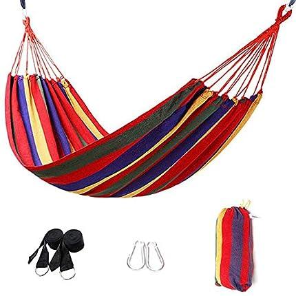 Signstek Hamaca de algodón para Exteriores Signstek (230 x 150 cm), Capacidad de Carga de hasta 300 kg, portátil con Bolsa de Transporte para Patio, jardín (Rojo)