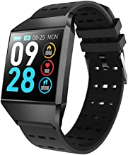 Smart Watch, IP68 Waterproof Function, Fitness Tracker Bracelet with Pedometer Heart Rate Monitor Sleep Tracker Compatible with iOS and Android (Black)