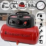 Compresor De Aire - Portátil, Sin Lubricación Con Aceite, Presión De Trabajo 8 Bar, Volumen 6 Litros, Velocidad 3750 rpm, Rojo - Objetos hinchables