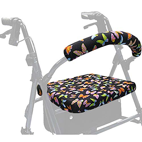 Crutcheze Butterfly Rollator Walker Seat and Backrest Covers - Unique & Vibrant Walker Cover - Made in USA