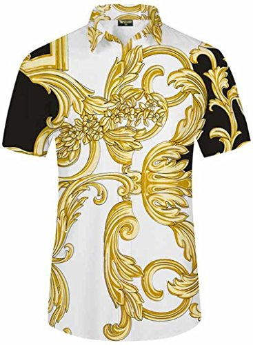 PIZOFF Men's Luxury Short Sleeve Floral Print Button Down Dress Shirt Y1782-13-XL