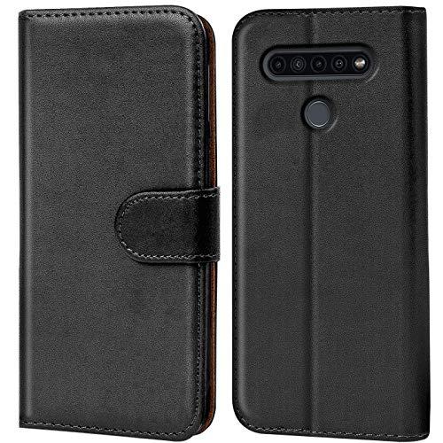Verco LG K51s Hülle, Handyhülle für LG K51s Tasche PU Leder Flip Hülle Brieftasche, Schwarz