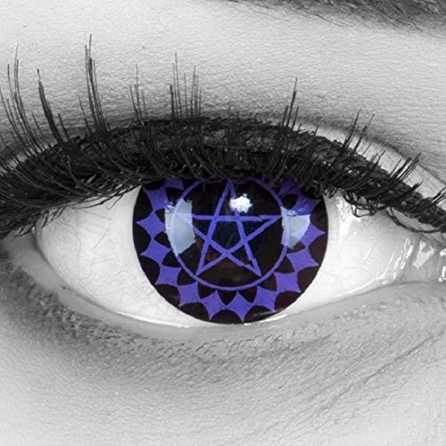 MeralenS 1 Paar farbige Sharingan violette Cosplay Manga Crazy Fun Jahres Kontaktlinsen Black Butler mit gratis Linsenbehälter. Perfekt zu Fasching, Halloween, Karneval Kostüm 12 Monatslinsen