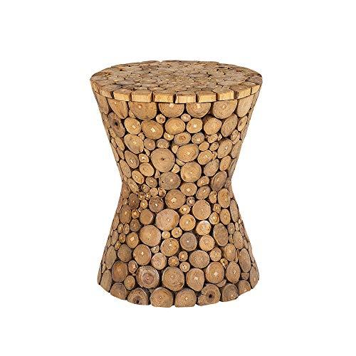 Beliani Rustic Solid Wood Side Table Teak Light Wood Hourglass Shape Round Top Rimbey