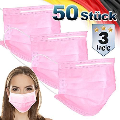 ECD Germany 50 Stück Mundschutz Maske Einweg Gesichtsmaske für Erwachsene Rosa 3-lagig Schutz atmungsaktive Mundschutzmaske mit Ohrschlaufen und Nasenbügel Mund-Nasen-Schutz Schutzmaske Einwegmaske