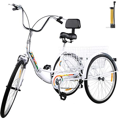 Sale!! Bkisy Tricycle Adult 26'' 7-Speed 3 Wheel Bikes for Adults Three Wheel Bike for Adults Adult Trike Adult Folding Tricycle Foldable Adult Tricycle 3 Wheel Bike Trike for Adults (White)