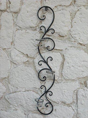 Design Wand-Kerzenhalter Wandleuchter aus Metall mit hellgrauer Patina