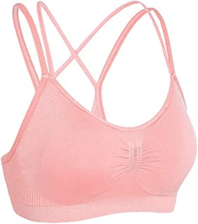 ZYDP Women's Seamless Sports Bra Strappy Crossback Workout Gym Activewear Bra Crop Top (Color : Pink, Size : L)