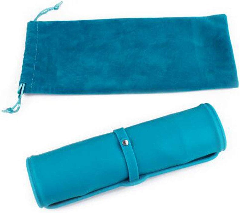 Pet Pot Dog Cat Bowl Fold Storage Silica Gel NonSlip Double Bowl Easy to Carry Environmental Predection Velvet Bag,bluee