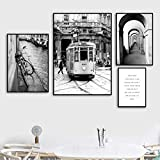 Rudxa 4 Piezas Paris Bus Church Bicycle Wall Art Canvas Painting Black White Posters and Prints Wall Pictures For Living Room Decor-no Frame