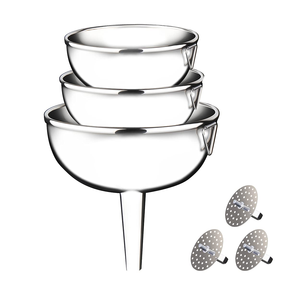 Large Funnels 3PCS Set Metal Stainless Steel with 3 Pack Removable Strainer, for Kitchen Transfer Liquid Filter Essential Cook Oils Fluid Spice Dry Ingredients Powder, Food Grade Dishwash Safe Durable