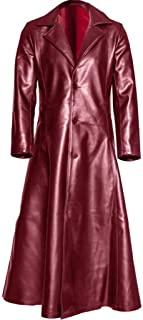 Faux Leather Gothic Long Trench Coat Fankle Lapel Single Breasted Mid Length PU Leather Retro Jackets Overcoat S-5XL