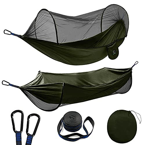 Double Camping Hammock with Mosquito/Bug Net, Portable Parachute Nylon 2 in 1 Pop Up Hammock with 10ft Hammock Tree Straps and Easy Assembly Carabiners, for Camping, Backpacking, Travel, Hiking