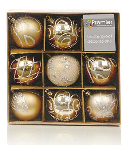 Set of Nine Gold Christmas Tree Baubles (6cm) by Christmas Direct