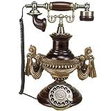 FTFTO Equipo de Vida Teléfono Retro Europeo Teléfono Antiguo Dial Giratorio de Metal Línea Fija Antigua Decoración del hogar Adornos