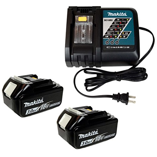 Makita DC18RC 7.2-18V Lithium Ion Battery Charger & (2) BL1830B 18V 3.0Ah Batteries