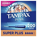 Tampax Pearl Tampons with Plastic Applicator, Super Plus Absorbency, 200 Count, Unscented (50 Count, Pack of 4-200 Count Total)