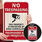 "SmartSign - T1-1074-HI_12x18 ""No Trespassing - This Property is Protected by Video Surve..."