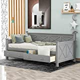 Twin Size Daybed with 2 Large Drawers, X-Shaped Wood Twin Day Bed Frame with Storage Drawers, No Box Spring Needed, Grey