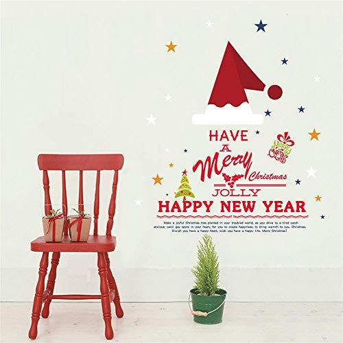 CYANDJweihnachtsmütze Neujahrwandaufkleber schlafzimmer wohnzimmer wanddekoration malereiPVC abnehmbare transparente folie aufkleber, 60 * 90 CM