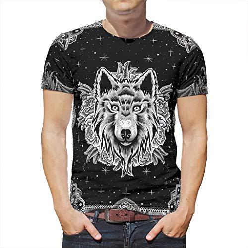 Camiseta de manga corta para hombre, diseño de mandala, lobo, rosa, estrellas, animales, obras de arte, impresión Cool Workwear blanco XL