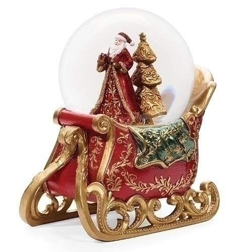 Roman Schneekugel mit Weihnachtsmannschlitten, Kunstharz, 17,8 x 10,2 cm, Scharlachrot und goldfarben