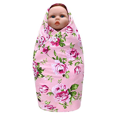 MINI Boutique Baby Swaddle Blanket Baby Flower Print Swaddling Couverture de réception et Serre-tête Bandeau, Cadeau de Naissance pour bébé