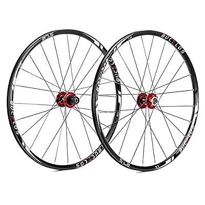 "BUCKLOS 【US Stock】 26/27.5/29"" Mountain Bike Wheelsets, Carbon Hub MTB Wheels Quick Release Disc Brakes, 24H Low-Resistant Flat Spokes Bike Wheel fit 7-11 Speed Cassette"