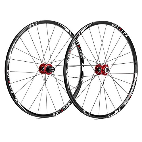 BUCKLOS 【US Stock】 26/27.5/29' Mountain Bike Wheelsets, Carbon Hub MTB Wheels Quick Release Disc Brakes, 24H Low-Resistant Flat Spokes Bike Wheel fit 7-11 Speed Cassette