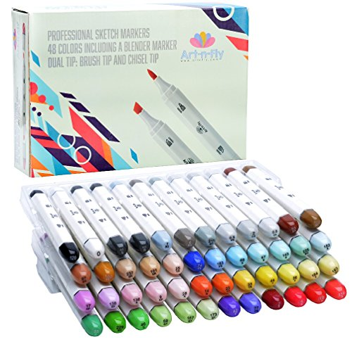 48 Professional Brush Markers Set for Drawing Manga Markers Illustration with Blender Sketch Marker Copic Markers Alternative