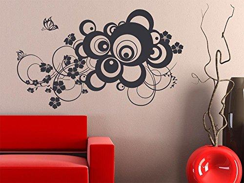 GRAZDesign Wanddekoration Wandsticker Retro Blumen, Wandfolie Deko Kreise für Wohnzimmer Wand, Wandtattoo Schlafzimmer Deko über Bett / 67x40cm / 040 violett