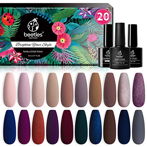 Beetles 20 Pcs Gel Nail Polish Kit, Manhattan Collection Soak Off Nail Gel Polish Set Nude Glitter Burgundy Red Purple Champagne Gold Starter Kit with Glossy & Matte Top Base Coat Christmas Gifts Set